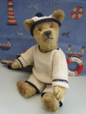 ANTIQUE OLD CHAD VALLEY TEDDY BEAR 1920s AEROLITE I.D. BUTTON UNDER CHIN