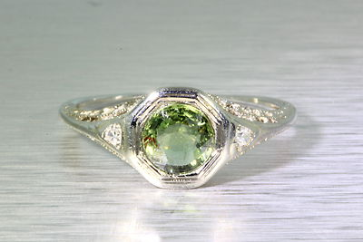 Antique Green Diamond 14k Gold Filigree Ring