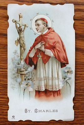 ANTIQUE DIE CUT HOLY CARD ST CHARLES PRAYING JESUS ON CROSS