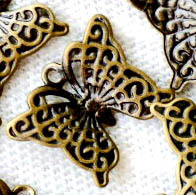 Antique Bronze Plated Filigree Butterfly Pendants