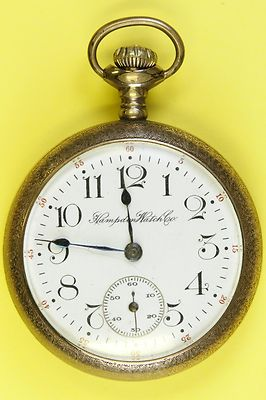 Circa 1915 Hampden Open Face Antique Pocket Watch