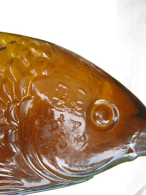 Antique Authentic Fish Bitters Amber Colored Patened 1866 1