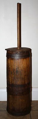 19th Century Primitive Staved Country Wooden Butter Churn