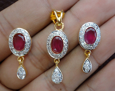 Simulated CZ Diamond Dangle Ruby Pendant Earring Set