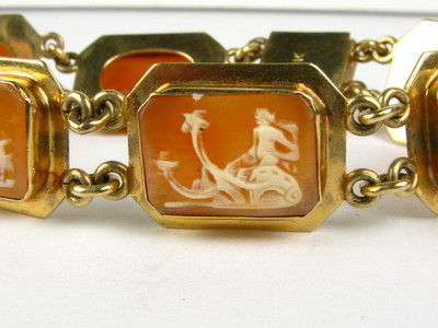 Antique Victorian Carved Beautiful Story Telling Cameo 14k Bracelet 2