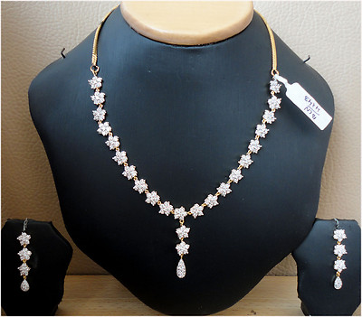 Simulated CZ White Diamond Dangle Necklace Earring Set Gold Plated Antique