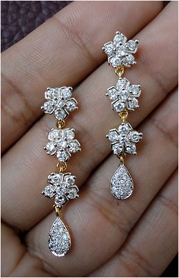 Simulated CZ White Diamond Dangle Necklace Earring Set Gold Plated Antique 1