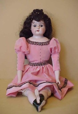 "18″ Old Antique Bisque Head Cloth German Doll ""Darling"" With Molded Boots"