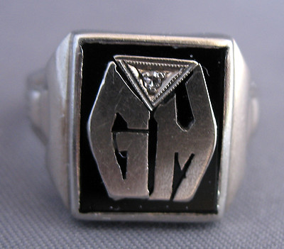 Antique Mens Art Deco 10k White Gold, Onyx &Amp; Diamond Intial Ringscrap