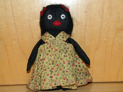 Antique Old Primitive Black Americana Folk Art Cloth-Rag Doll