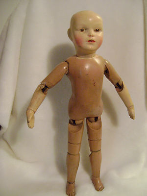 Antique 18″ Schoenhut Wood Doll Jan 1911 Spring Loaded Joints Carved Eyes