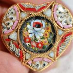Antique Victorian Floral Mosaic Heart Brooch