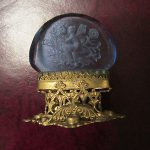 Antique Czechoslovakia Intaglio Carved Blue Glass Brass Card Holder Nymph Floral