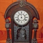 Old Antique Ansonia Teadrop Lion Head Finial Mantle Shelf Clock