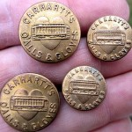 4 Antique CARHARTT Overall BUTTONS Brass w/ Heart & Train/Trolley O'ALLS GLOVES