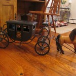 Horse Royal Stagecoach Metal Carriage Wood Buggy Miniature Replica Antique Toy