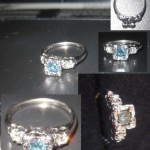 Antique 14kt White Gold Blue & White Diamond Engagement Ring NO RESERVE