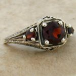 ANTIQUE RED GARNET .925 STERLING SILVER FILIGREE RING SIZE 8,   #160