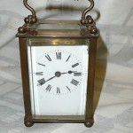 Antique brass carriage clock Lion trademark working D&B Muller Hubert