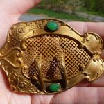 ANTIQUE VINTAGE VICTORIAN JADE GLASS MOURNING PIN BROOCH BELT BUCKLE OLD C CLASP