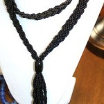 Vintage / Antique Necklace Length In Inches44 Black Glass Beads
