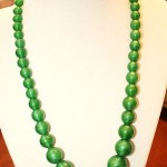 Vintage / Antique Necklace Length In Inches18 Green Glass Beads On Chain Nice