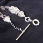 Antique Estate Sterling Silver Etched Pocket Watch Fob Chain
