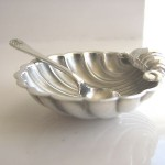 Antique Vintage English Silver Shell Open Salt Cellar Dipdish Bowl With Spoon Set