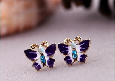 Antique Gold Butterfly Rhinestone Stud Earrings