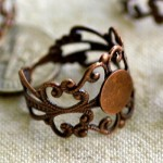 Antique Copper Plated Brass Filigree Cab Base Rings
