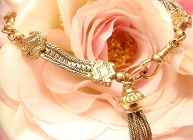 Antique Victorian Old Gold Gilt Albertina Charm Tassel Fob Bracelet Bangle