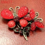 Noblest Crystal Butterfly Antique Bronze Brooch