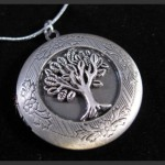 Tree Of Life Vintage Antique Silver Tone Picture Locket Charm Pendant Necklace