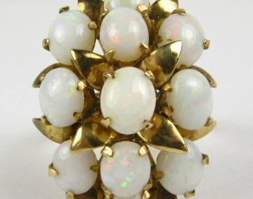 Antique Deco Natural Opal Cluster 18k Yellow Gold Ring