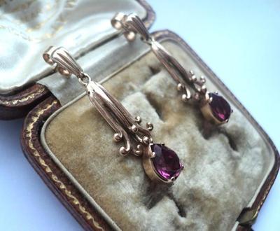Antique Art Deco Gold Almandine Garnet Earrings