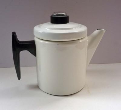 Stylish Finel ARABIA of Finland Enamel Coffee Pot White GOOD CONDITION