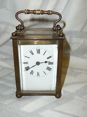 Antique brass carriage clock Lion trademark working D&B Muller Hubert
