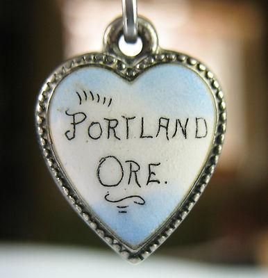 PORTLAND, OREGON/Colorful ENAMELED Puffy Heart /Antique Silver Charm