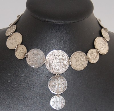 Rare Antique Victorian 800 Canadian COIN SILVER NECKLACE Initials 10 25 50 Cents