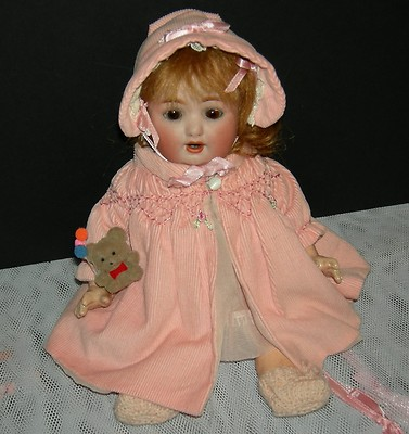 ANTIQUE BABY DOLL  9″  #201 GERMANY  CATTERFELDER PUPPENFABRIK  BISQUE HEAD