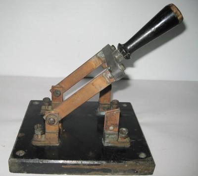 Vintage Perkins Knife Switch Slate Base 50 Amp 220 Volt Old Antique Breaker