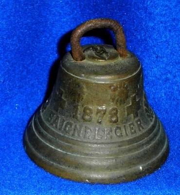 Antique 1878 Swiss Cow Bell Bronze Chiantel Fondeur, Saignelegier