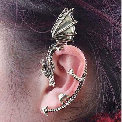 fashion Antique Bronze Color FLYING DRAGON Bite Ear Cuff Earrings Jewellery