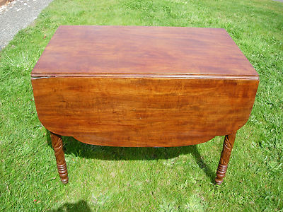 Antique 1800s Hawaiian Victorian Koa Drop Leaf Table Leaf Carved Legs