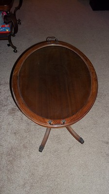 Oval Mahogany Duncan Phyfe  Table  antique glass top