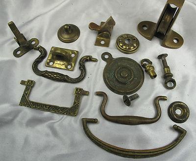 vtg antique lot brass dresser cabinet handle drawer pulls  furniture hardware