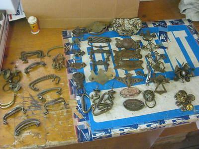 Hundreds of Antique BRASS FURNITURE Drawer Pulls Handles Screws Back Plates Etc.