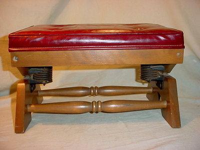 Vtg ro Mid Century Red Vinyl Rocking Red Foot stool Hassock Ottoman Eames Era