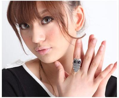 R1055 Vintage Europestyle ro Antique Vintage silver Owl Ring Adjustable