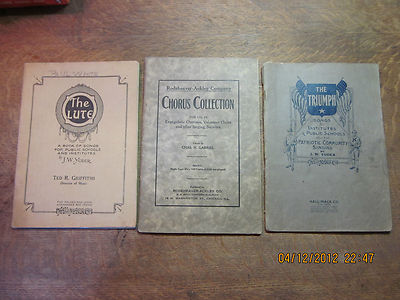 CHORUS/SONG BOOKS ANTIQUES 1920'S LOT OF (3)